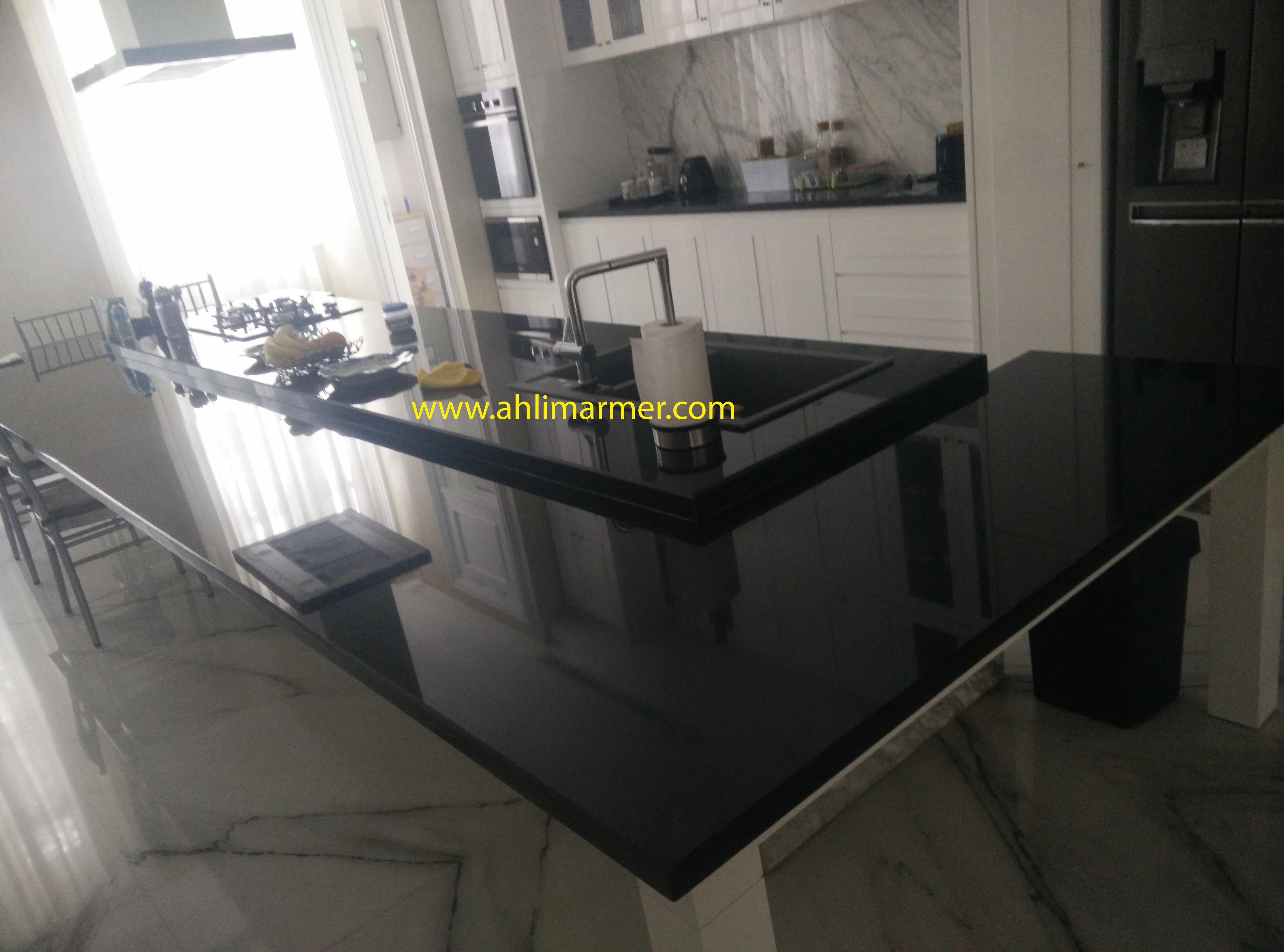 Hasil akhir tahapan pemasangan Top Table Meja Granit