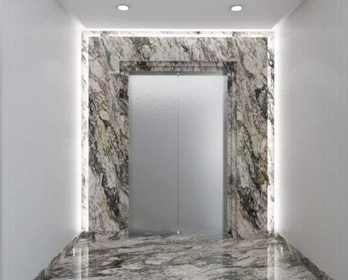 Hasil Pemasangan Marmer Pada dinding lift